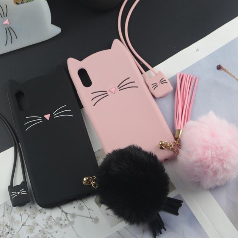 coque-en-forme-de-petit-chat-noir-rose-translucide-iZPhone