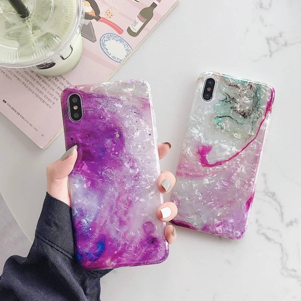 coque iphone xr marbre paillette