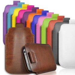 Pochette de rangement en cuir de couleur pour iPhone