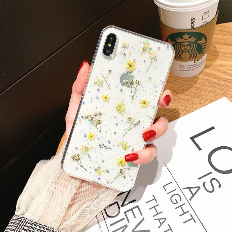 Coque fleurs séchées véritable pour iPhone