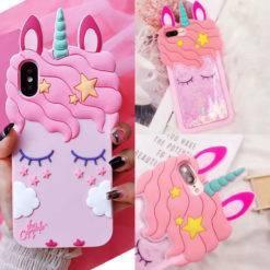 coque-licorne-3D-rose-paillettes-iPhone-iZPhone