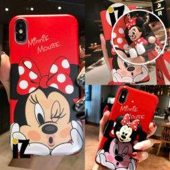 coque-minnie-mouse-iPhone-support-porte-cles-minnie-noeud-rouge-iZPhone