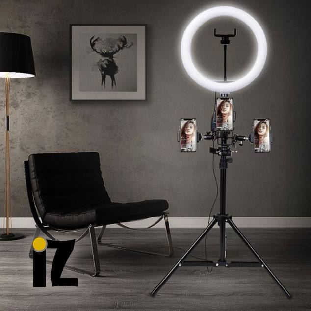 Tripod-trepied-anneau-led-dimmable-support-smartphone-studio-photo-iZPhone