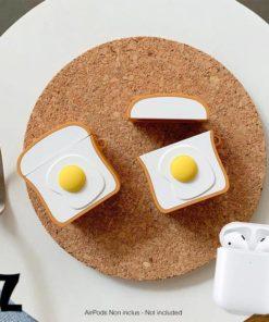 Etui omelette pour AirPods en Silicone avec porte-clés