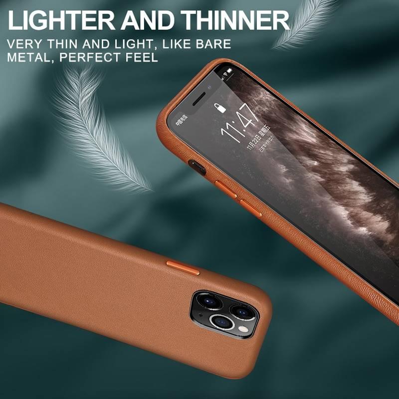 Coque luxe cuir véritable pour iPhone 11