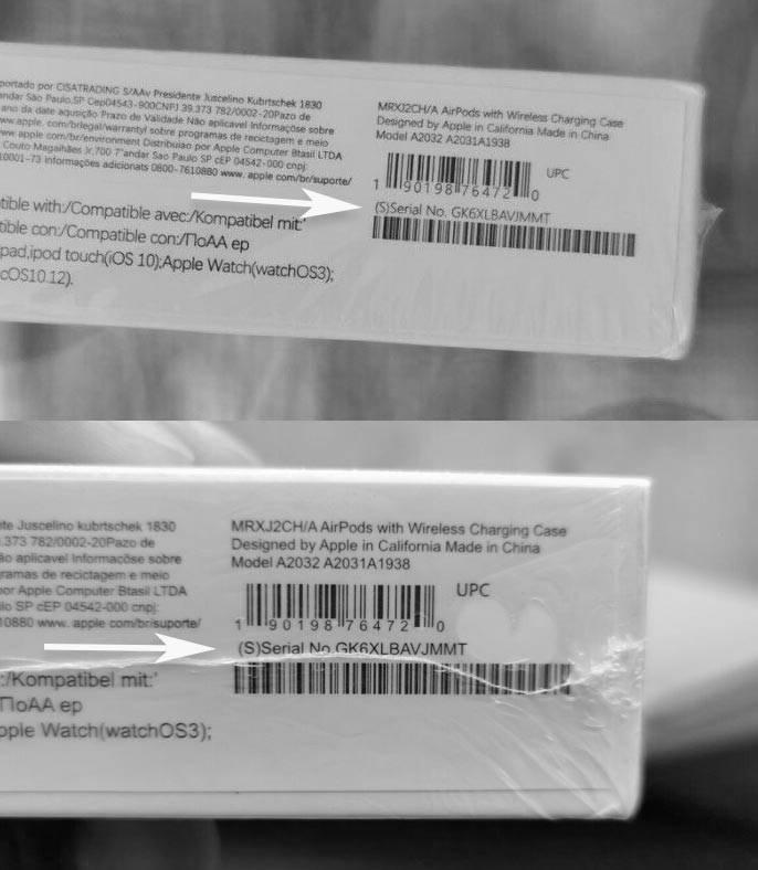 Faux AirPods ebay avec numéro de série