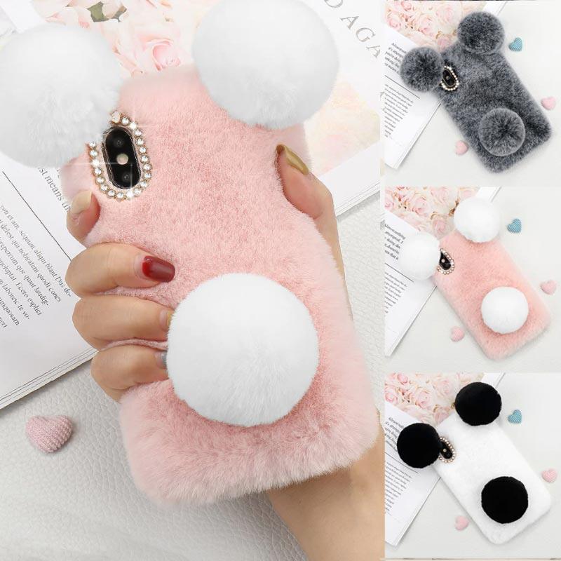 Coque-iPhone-peluche-fourrure-3D-Rabbit-Panda-iZPhone