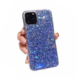 Coque iPhone paillettes Bleu