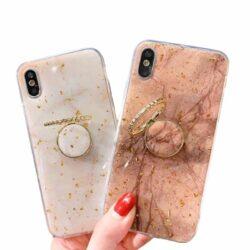 Coque iPhone porte-bague Marbre et feuille d'or